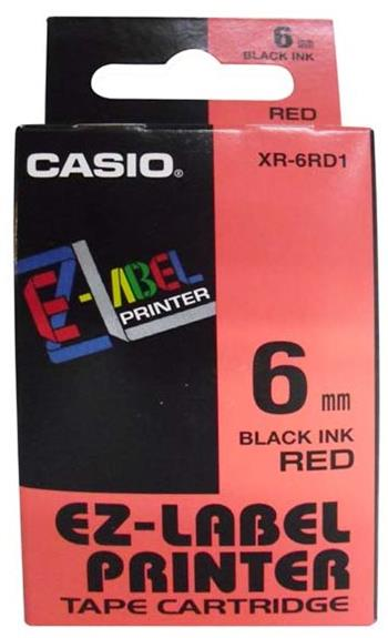 páska CASIO XR-6RD1 Black On Red Tape EZ Label Printer (6mm)