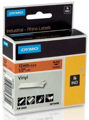páska DYMO 18435 PROFI D1 RHINO Black On Orange Vinyl Tape (12mm)