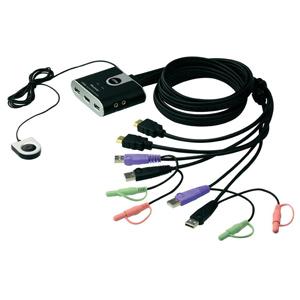 2-portový USB HDMI KVM Switch, Audio 2.1, Remote port selector (1.8m), Aten CS-692