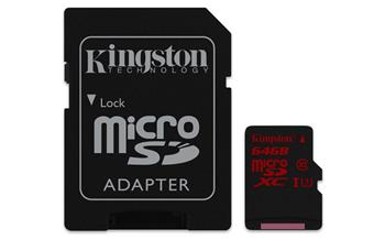 Pamäťová karta Kingston microSDXC karta 64GB UHS-I Class 3 (čítanie/zápis;90/80MB/s) + adaptér
