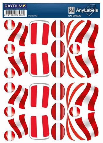 etikety RAYFILM STICKERS - nálepky vlajky (AT) 30ks/1 list *RP01050021AT