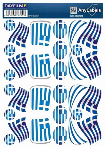 etikety RAYFILM STICKERS - nálepky vlajky (GR) 30ks/1 list *RP01050021GR
