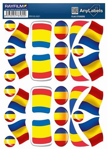 etikety RAYFILM STICKERS - nálepky vlajky (RO) 30ks/1 list *RP01050021RO