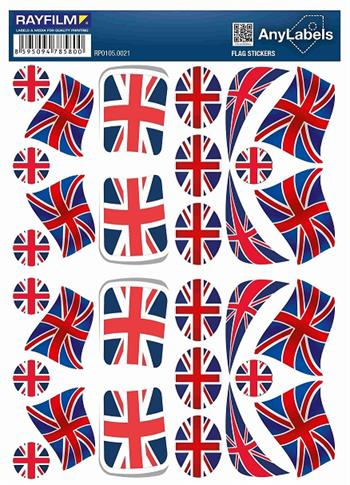 etikety RAYFILM STICKERS - nálepky vlajky (UK) 30ks/1 list *RP01050021UK