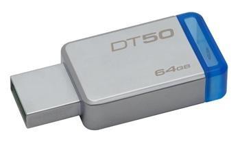 USB kľúč Kingston 64GB USB 3.0 DataTraveler 50 (Kovový/Modrý)