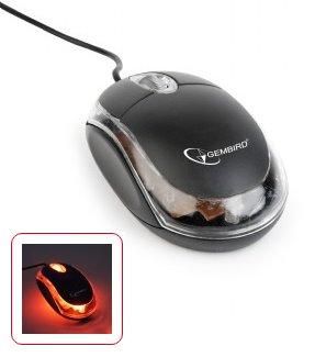 myš GEMBIRD optická, čierna/priesvitná, 1000 DPI, USB