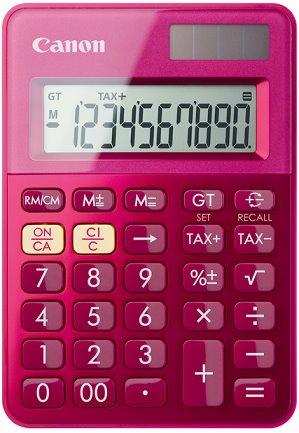 stolová kalkulačka CANON LS-100K ružová, 10 miest, solárne napájanie + batérie