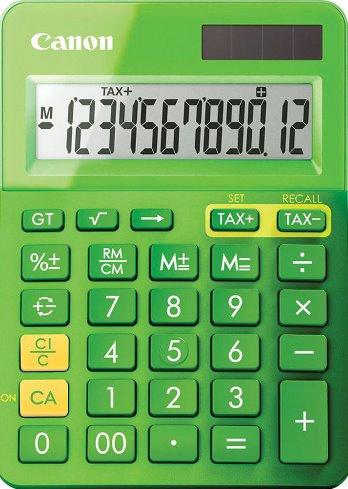 stolová kalkulačka CANON LS-123K zelená, 12 miest, solárne napájanie + batérie
