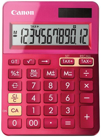 stolová kalkulačka CANON LS-123K ružová, 12 miest, solárne napájanie + batérie