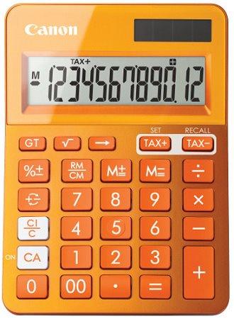 stolová kalkulačka CANON LS-123K oranžová, 12 miest, solárne napájanie + batérie