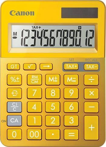 stolová kalkulačka CANON LS-123K žltá, 12 miest, solárne napájanie + batérie