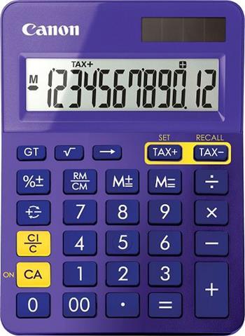 stolová kalkulačka CANON LS-123K fialová, 12 miest, solárne napájanie + batérie