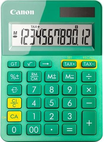 stolová kalkulačka CANON LS-123K tyrkysová, 12 miest, solárne napájanie + batérie