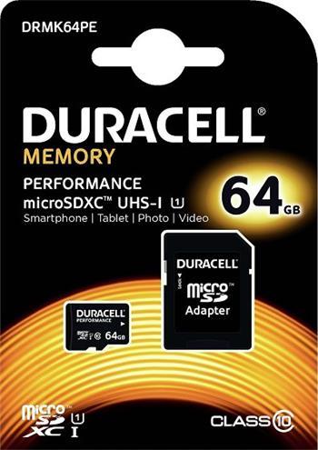 Pamäťová karta Duracell micro SDXC 64GB Class 10 UHS-I (+ adaptér)