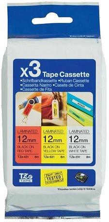 páska BROTHER TZe31M3 multipack TZ231+TZ431+TZ631 (3x 12mm)