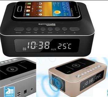 BT reproduktor + Qi bezdrôtová nabíjačka PROMATE TIMEBASE, Bluetooth 3.0, 10W, Qi, LED budík, FM rádio, čierna farba