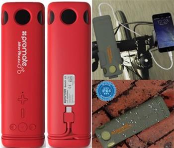 BT reproduktor + powerbank PROMATE BIKERMATE, BT 4.0, 5W, vodeodolný IPX4, LED svetlo, 8000mAh PowerBank, červená farba