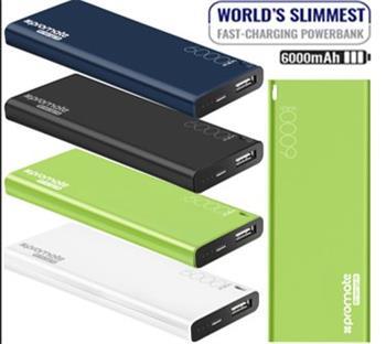 powerbank PROMATE ENERGI 6, 6.000mAh, 2.1A USB, čierna farba