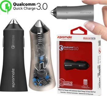 autonabíjačka PROMATE ROBUST, Qualcomm Quick Charge 3.0 Dual USB, USB port 2.4A, QC 3.0 port 5V-12V, čierna farba