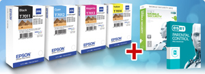 1 sada kaziet EPSON WorkForce WP4000,WP4500 CMYK XXL + ESET Mobile Security+Parental Control