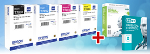 1 sada kaziet EPSON WorkForce WF5000 CMYK XXL + ESET Mobile Security+Parental Control