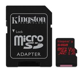 Pamäťová karta Kingston Canvas React microSDXC 64GB Class 10 UHS-I U3 V30 100/80 MB/s (+ adaptér)