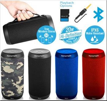BT reproduktor PROMATE SILOX, BT 4.2, 20W HD sound, IPX6, FM rádio, modrá farba
