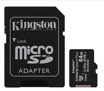 Pamäťová karta Kingston Canvas Select Plus microSDXC 64GB Class 10 UHS-I 100/10 MB/s (+ adaptér)