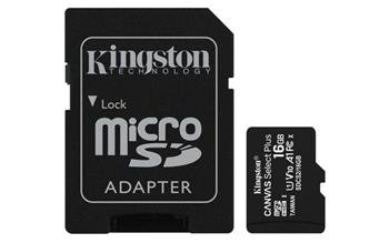 Pamäťová karta Kingston Canvas Select Plus micro SDHC 16GB Class 10 UHS-I 100/10 MB/s (+ adaptér)