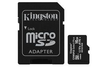 Pamäťová karta Kingston Canvas Select Plus micro SDHC 16GB Class 10 UHS-I 100/10 MB/s (+ adaptér)