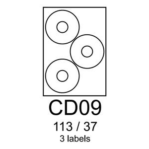 etikety RAYFILM CD09 113/37 univerzálne biele R0100CD09C (20 list./A4)
