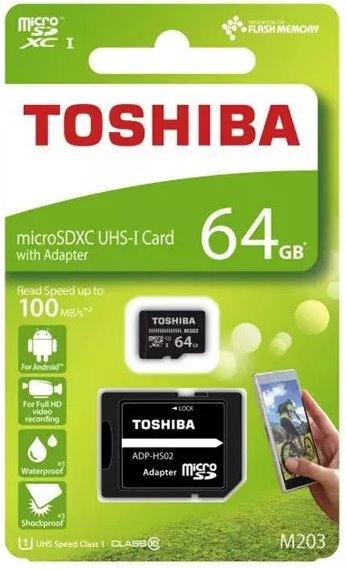 Pamäťová karta TOSHIBA Exceria micro SDXC 64GB Class 10 UHS-I 100/10 MB/s (+ adaptér)