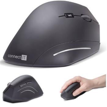 CONNECT IT FOR HEALTH ergonomická vertikálna myš, 1600dpi, 6 tlačidlová, bezdrôtová, USB, 2,4Ghz, čierna