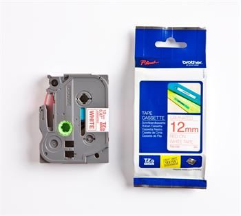 páska BROTHER TZ232 červené písmo, biela páska Tape (12mm)
