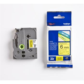 páska BROTHER TZ611 čierne písmo, žltá páska Tape (6mm)