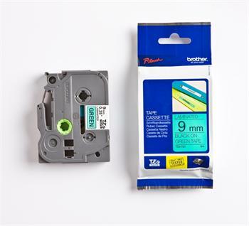 páska BROTHER TZ721 čierne písmo, zelená páska Tape (9mm)