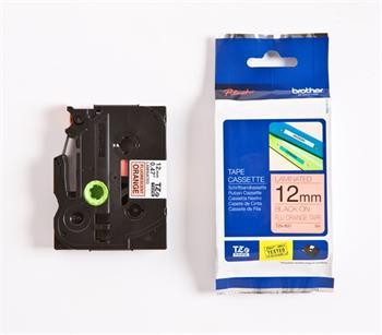 páska BROTHER TZB31 čierne písmo, fluorescenčná oranžová páska Tape (12mm)