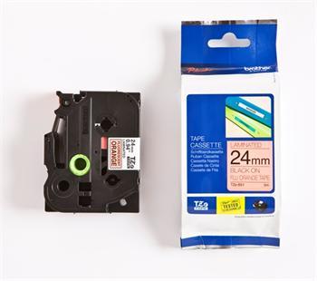 páska BROTHER TZB51 čierne písmo, fluorescenčná oranžová páska Tape (24mm)
