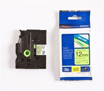 páska BROTHER TZC31 čierne písmo, fluorescenčná žltá páska Tape (12mm)