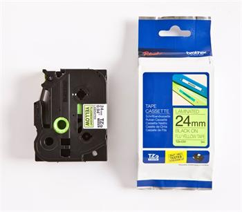 páska BROTHER TZC51 čierne písmo, fluorescenčná žltá páska Tape (24mm)