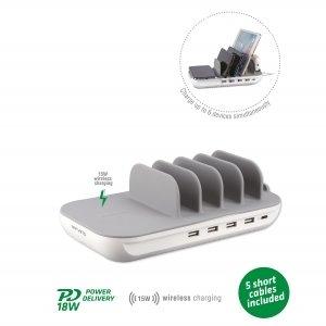 bezdrôtová nabíjacia stanica 4smarts Charging Station Family Evo 63W with PD, Wireless Charger and Cables, šedo-biela