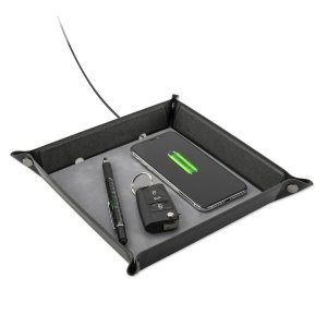 bezdrôtová nabíjacia podložka 4smarts Pocket Tray Organizer with Wireless Charger 15W, čierno-šedá