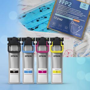 1x sada náplní EPSON T945 CMYK + detské rúška (50ks) + BIELY respirátor FFP2 bez výdychového ventilu (20ks)