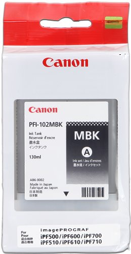 kazeta CANON PFI-102MBK matte black iPF 500/510/600/605/610/650/655/700/710/720/750/755/760/765, LP 17/24