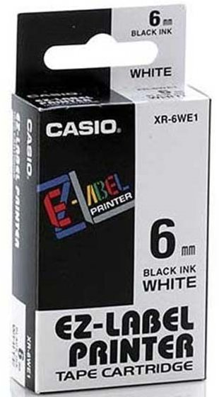 páska CASIO XR-6WE1 Black On White Tape EZ Label Printer (6mm)