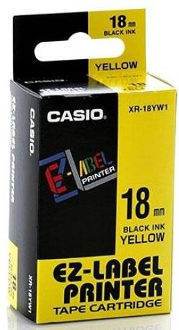 páska CASIO XR-18YW1 Black On Yellow Tape EZ Label Printer (18mm)