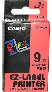 páska CASIO XR-9RD1 Black On Red Tape EZ Label Printer (9mm)