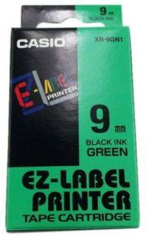 páska CASIO XR-9GN1 Black On Green Tape EZ Label Printer (9mm)