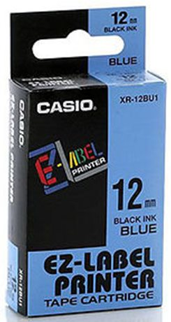 páska CASIO XR-12BU1 Black On Blue Tape EZ Label Printer (12mm)