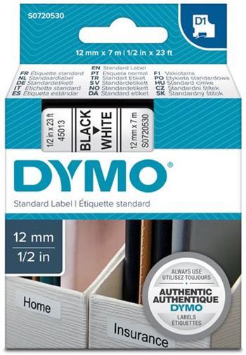 páska DYMO 45013 D1 Black On White Tape (12mm)